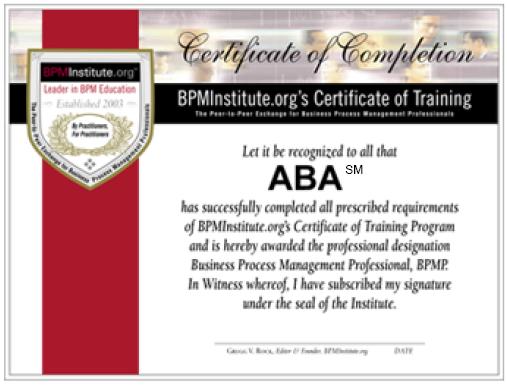certificate brainstorm dc aba bpminstitute business
